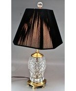 """Vintage Waterford Crystal & Brass Table Lamp with Shade - 20"""" Tall  - $350.00"""
