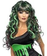 Long Black & Green Curly Wig, Blood Drip Monster Wig, Halloween Accessor... - $17.01