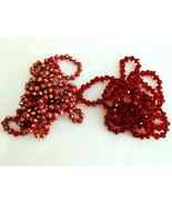 "TWO 60"" LONG TRENDY RED GLASS GOLDFOIL NECKLACES LADIES RETRO BOHO VERSA... - $22.76"