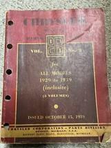 1929 1930 1931 1933 1935 1937 1938 1939 Chrysler Master Parts List Book ... - $69.25