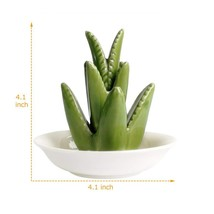 Ring Holder Dish for Jewelry Ceramic Aloe Tropical Ring Organizer Trinke... - $27.40