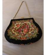 Vintage Needlepoint Floral Tapestry Evening Bag Purse  - $29.65