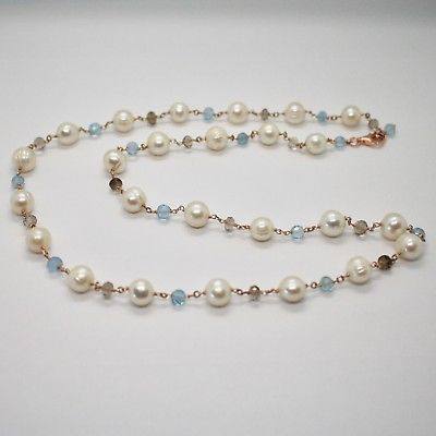 925 Silver Necklace Laminate Rose Gold with Quartz pearls and aquamarines
