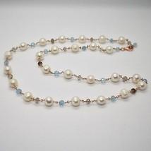 925 Silver Necklace Laminate Rose Gold with Quartz pearls and aquamarines image 1