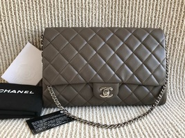 AUTHENTIC CHANEL GREY QUILTED CAVIAR TIMELESS CLASSIC FLAP BAG SILVER HA... - $2,199.99