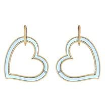 Gorgeous Cristina Sabatini Amoroso Clear Aqua Heart Hoop Earring - $206.91