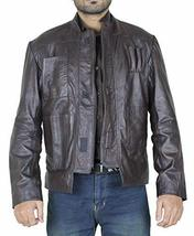 Mens Han Solo Star Wars Force Awakens Harrison Ford Brown Leather Jacket image 1