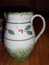 PIER 1 IMPORTS HAND PAINTED WATER PITCHER HOLLY LEAVES - $15.79