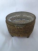 OVAL GLASS TOP TRINKET BOX Filigree Pierced Gold Metal Beveled Glass Lid - $24.99