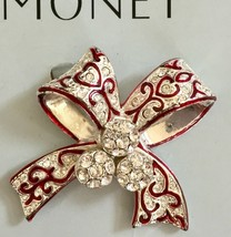 Vintage MONET Bow Brooch Pin Silver & Red w/ Rhinestones Brand New - $16.99