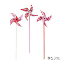 Paper Dots and Stripes Valentine Pinwheels 4 inches, Set of 12 - $9.56