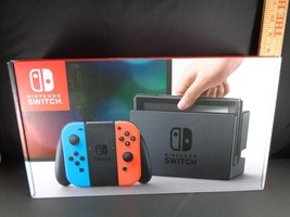 NINTENDO SWITCH 32GB Grey Console with Neon Blue Neon Red Joy-Con Brand New - $385.00
