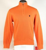 Izod French Rib Cotton Long Sleeve 1/4 Zip Orange Polo Sweater Mens NWT - $41.24