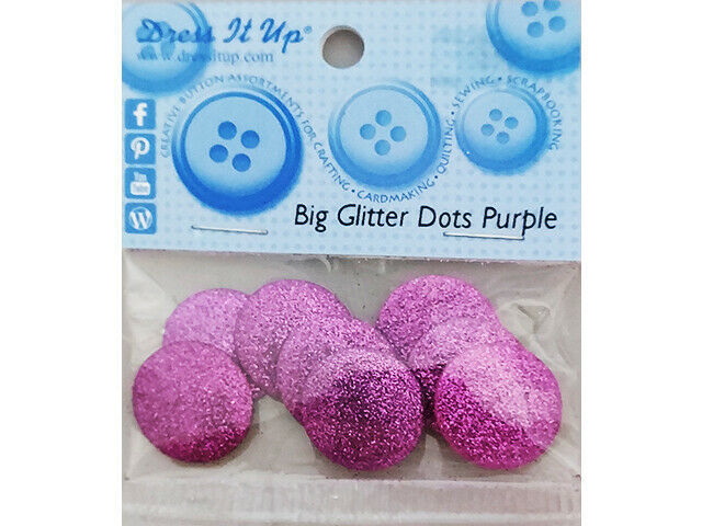 Jesse James Dress It Up Flat Back Big Glitter Dots, Purple, 8 Pieces