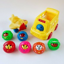 Vintage Fisher Price Roll A Rounds Lot of 6 Balls Airplane & Bus 1994 1995 - $14.99