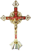 Stand Altar Cross Crucifix Jesus Church Red&Enameled inri Jerusalem Holy... - $52.13