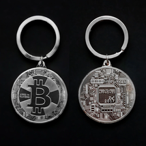 Gold Plated Bitcoin Coin Key Chain BTC Coin Art Collection Design Key Ring Gift image 5
