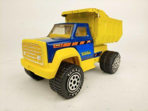 "Vintage 1980 Blue Yellow Tonka Mini Dump Truck 7.5""  - $19.97"