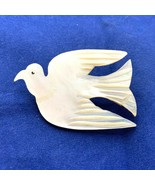 Vintage Shell White Dove Brooch Pin Peace Carved Mother of Pearl MOP Fly... - $16.82