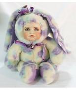 Vintage porcelain plush colorful bunny kid face by aurora - $113.85