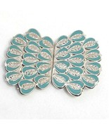 Vintage Sash Belt Buckle Clips Silver and Turquoise Blue Tone Heart Shapes  - $18.52