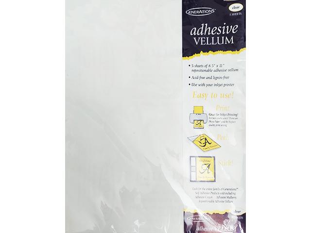 "Generations Adhesive Vellum, 5 Sheets, 8.5"" x 11"" Repositionable Adhesive Vellum"