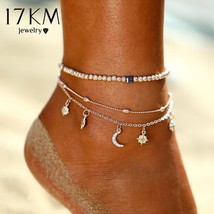 17KM® Bohemian Star Moon Beads Anklet For Women Vintage Multi Layer Ankl... - $4.17