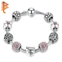 BELAWANG Fashion Silver Charm Bracelet & Bangle Wedding Love and Flower ... - $17.31