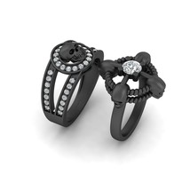 Lab Created 0.60ct Moissanite Rope Skull Engagement Ring Gothic Wedding Band Set - $2,869.99