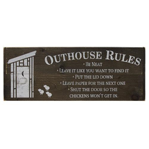 Outhouse Rules Sign rustic wooden sign humorous design bath decor  - $39.99