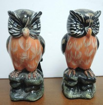Pair of Vintage Black White Brown Orange Porcelain Owls - $10.69