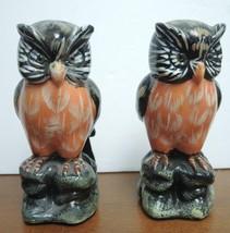 Pair of Vintage Black White Brown Orange Porcelain Owls - $7.48