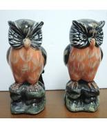 Pair of Vintage Black White Brown Orange Porcelain Owls - $10.69