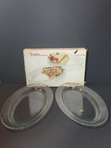 "Arcoroc France Meridien Oval Serving Platters 14""x9"" Glass Set Of 2 - $34.65"