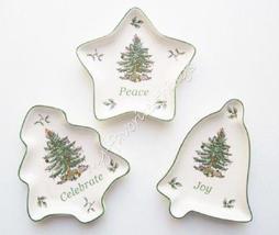 Spode Christmas Tree Sentiment Tray Set /3- Celebrate Tree, Peace Star, ... - $45.00