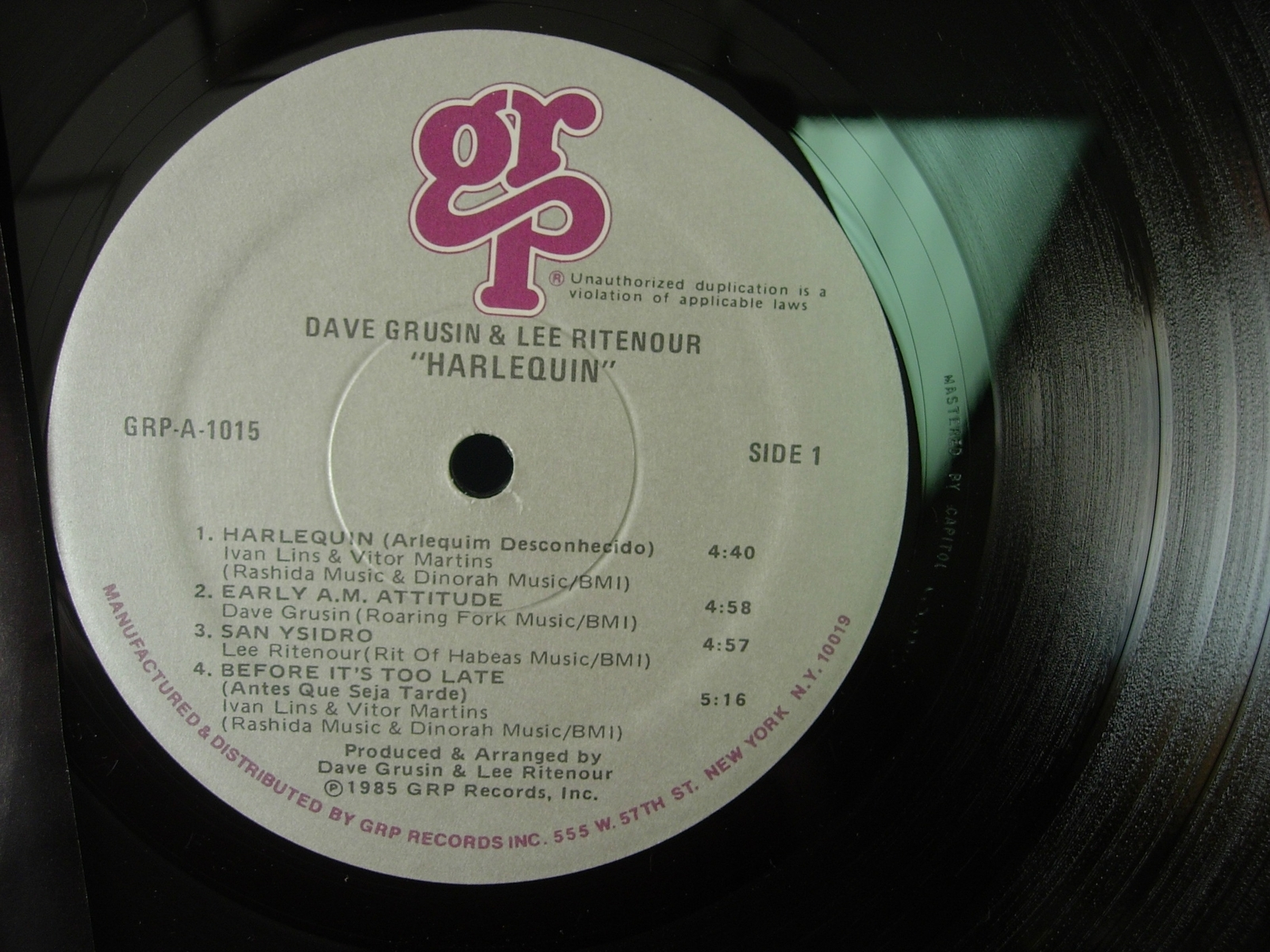 Dave Grusin & Lee Ritenour - Harlequin - GRP Records GRP A-1015