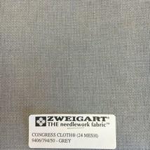 Zweigart Congress Cloth Blank 24 Mesh Needlepoint Canvas Grey 24 Count Canvas - $9.98+