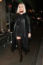 chloe-sims Mock Collar Hot Women Celebrities replicate 100% Genuine Leather Coat