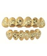Player 14K Gold Plated Diamond Cut Zig Zag Teeth Mouth Grillz Set w/ Mol... - $14.01