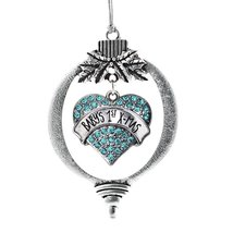 Inspired Silver Baby's First X-Mas Aqua Pave Heart Holiday Decoration Christmas  - $14.69