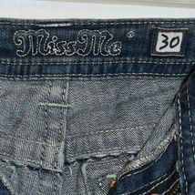 Miss Me Women's Fleur de Lis Mid-Rise Easy Boot Cut Blue Denim Jeans Size 30 image 5