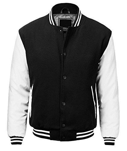Maximos USA Men's Premium Vintage Baseball Letterman Varsity Jacket (Small, Blac