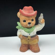 HOMCO TEDDY BEAR FIGURINE vintage 1406 porcelain cub cowboy western pistol hat - $17.82