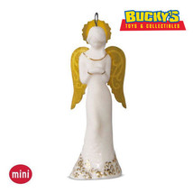 Guardian Angel 2016 Hallmark Porcelain MINI Ornament  Gold Wings Halo  R... - $14.79