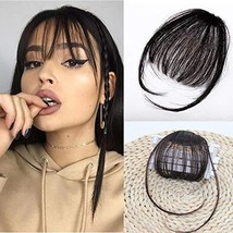 Human Hair Bangs Clip on Real Hair Dark Brown #4 Flat Bangs with Temples Hand Ma