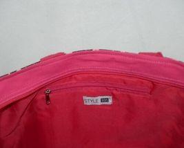 GANZ Brand Style 101 ER39334 Large Burlap Black Cream Purse Pink Handle image 5
