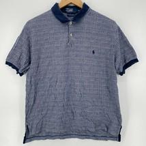 Polo Ralph Lauren Polo Shirt Men's M Blue 100% Pima Cotton Plaid Print V... - $18.49