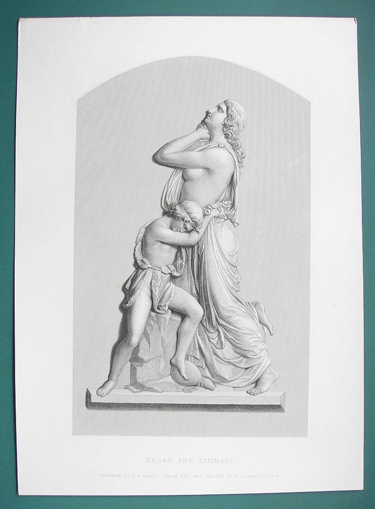 OLD TESTAMENT Hagar & Ishmael Sculpture - SUPERB 1850s Antique Print