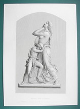 OLD TESTAMENT Hagar & Ishmael Sculpture - SUPERB 1850s Antique Print - $13.49