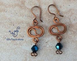 Handmade copper earrings: oval yin yang with metallic dark aqua bicone c... - $18.00